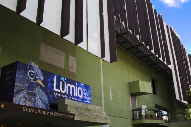 Exterior signage at State Library of Queensland